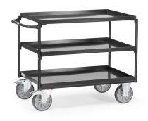 fetra tafelwagen grey edition voorzien van drie etages met opstaande rand